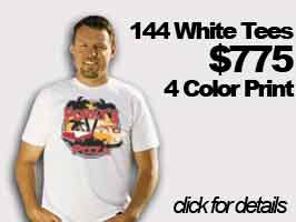 144 White T-Shirts 4 color print