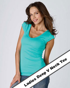 ladies deep v neck tee